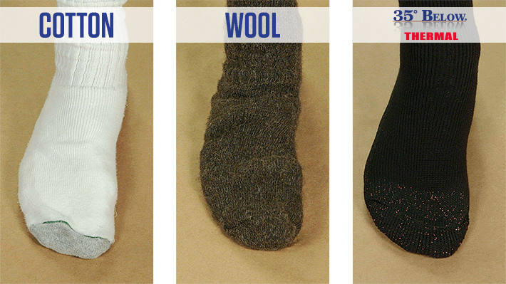 Cotton vs. Wool vs. 35° Below® Thermal Socks Socks