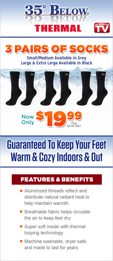 Order 35° Below® Thermal Socks Today!