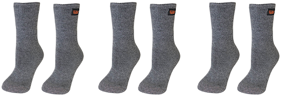 3 Pair 35° Below® Thermal Socks Gray Socks
